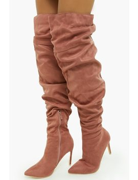 Slouchy Over The Knee Faux Suede Boots by Forever 21