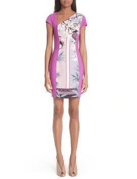 Bicolor Asymmetrical Cady Sheath Dress by Versace Collection