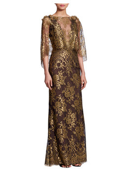 Bateau Neck 3/4 Sleeve Metallic Chantilly Lace Evening Gown by Marchesa