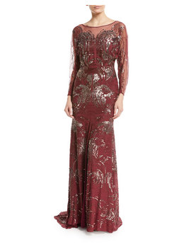 Long Sleeve Swirl Sequin Beaded Evening Gown by Jenny Packham