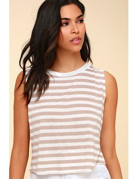 Rita Beige Striped Cropped Muscle Tee by Day