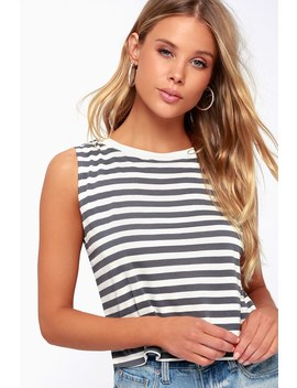 Rita Blue Grey Striped Cropped Muscle Tee by Day
