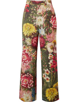 Floral Print Wool And Mohair Blend Wide Leg Pants by Gucci