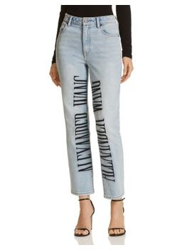 Cult Logo Embroidered Wide Leg Jeans In Bleach by T By Alexander Wang