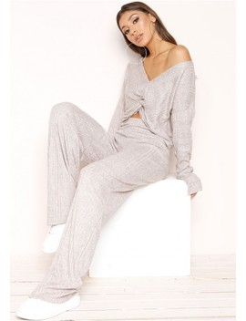 Giselle Grey Knot Loungewear Set by Missy Empire