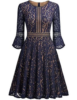 Chouyatou Woman's Vintage Crew Neck 3/4 Sleeve Fit Flare Swing Midi Lace Party Dress by Chouyatou