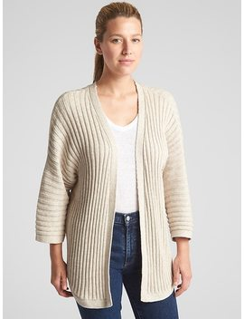 Open Front Plaited Rib Cardigan Sweater by Gap