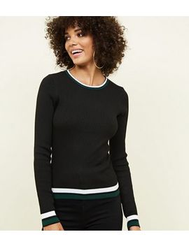 Black Ribbed Tipped Jumper by New Look