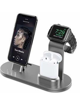 Olebr Charging Stand For Apple Watch 4 Stand For Air Pods Charging Docks For Apple Watch Series 4/3/2/1/ Air Pods/I Phone Xs/X Max/Xr/X/8/8 Plus/7/7 Plus /6 S /6 S Plus/I Pad Space Gray by Olebr