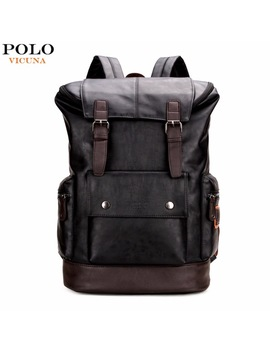 Vicuna Polo Simple Patchwork Large Capacity Mens Leather Backpack For Travel Casual Mochila Men Daypacks Leather Travle Backpack by Vicuna Polo