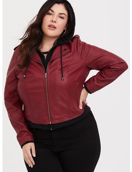 Red Faux Leather 2fer Moto Jacket by Torrid