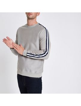 Grey Slim Fit Tape Sleeve Sweatshirt by River Island