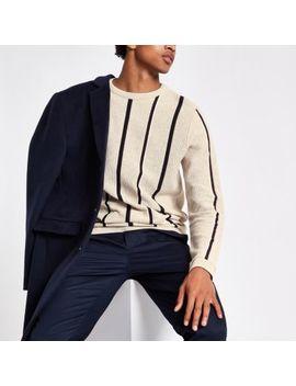 Ecru Stripe Slim Fit Stripe Textured Jumper by River Island