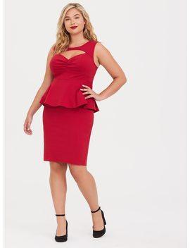 Retro Chic Red Peplum Bodycon Dress by Torrid