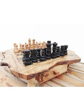 Olive Wood Unique Rustic Chess Set Game With Drawers / Birthday Gift / Dad Gift / Boyfriend Gift / Husband Gift by Etsy