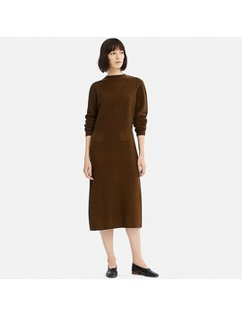 Women Uniqlo U 3 D Wool Mock Neck Long Sleeve Dress by Uniqlo
