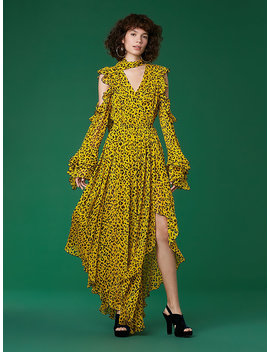 Ruffle Sleeve High Low Maxi Dress by Dvf