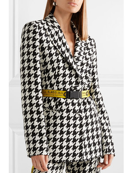 Canvas Jacquard Trimmed Houndstooth Wool Blend Blazer by Off White