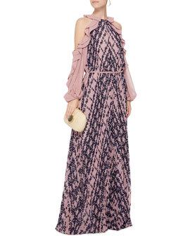 Cold Shoulder Printed Chiffon Maxi Dress by Self Portrait