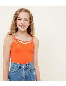 Girls Orange Lattice Front Cami by New Look