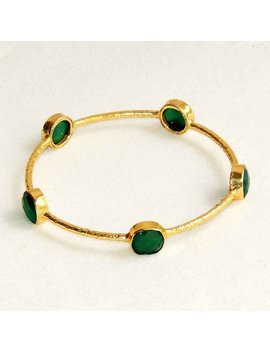 Bangles   Green Onyx Bangles    Gemstones Bangles    18k Gold Plated Hammered Finished Bangle by Etsy