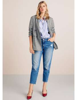 Check Unstructured Blazer by Mango
