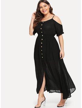 Plus Open Shoulder Single Breasted Dress by Romwe