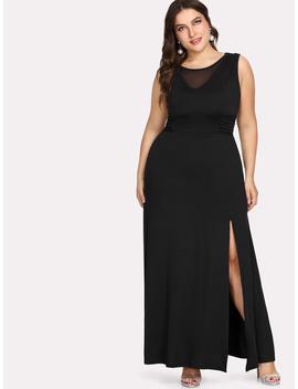 Plus Contrast Mesh Split Dress by Romwe