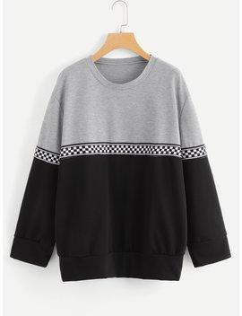 Plus Contrast Tape Color Block Sweatshirt by Romwe