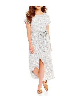 Knit Hi Low Midi Wrap Dress by Gibson & Latimer