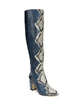 Hai Serpent Snake Print Leather Tall Block Heel Boots by Sam Edelman