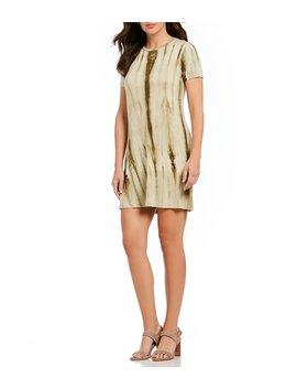 Tie Dye Short Sleeve Crew Neck T Shirt Dress by Bobeau