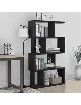 S Shaped Bookcase Z Shelf Style Bookcase Asymmetrical Snaking Bookcase  Storage Display Modern Industrial  Bookshelf by Joo Life