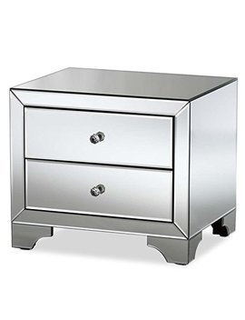 Hawthorne Collections Mirrored 2 Drawer Nightstand In Silver by Hawthorne Collections