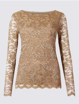 Lace Slash Neck Long Sleeve Top by Marks & Spencer