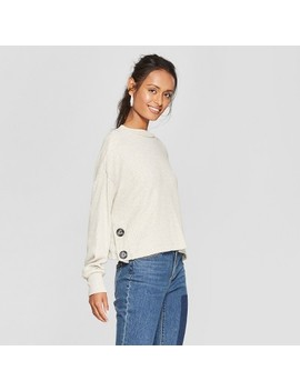 Women's Long Sleeve Button Detail Pullover Sweater   Lily Star (Juniors') Oatmeal by Lily Star