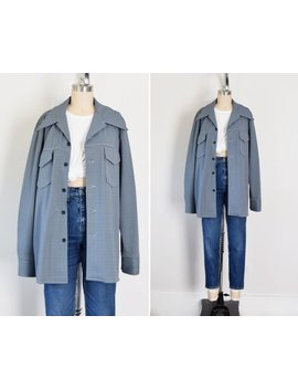 70s Leisure Jacket / Herringbone Jacket / 70s Western Shirt / Blue / Shirt Jacket / Oversize Shirt / Light Jacket / Small Medium Large by Etsy