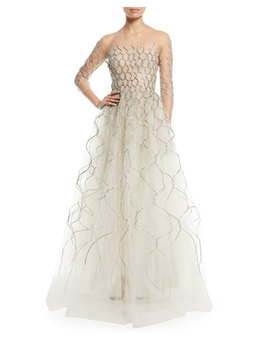 3/4 Sleeve Metallic Embroidered Tulle Evening Gown by Oscar De La Renta