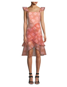 Angelita Striped Ruffle Asymmetric Midi Dress by Alice + Olivia