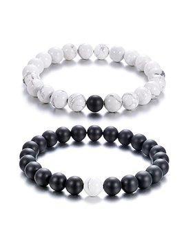 Zc Li Jewelry Couple Distance His And Hers Black Matte Agate White Howlite Natural Beads Stone Bracelet by Zc Li Jewelry