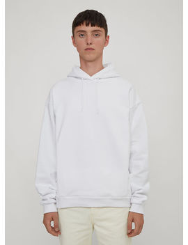Hooded Logo Back Sweater In White by Martine Rose