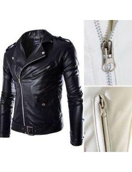 Fashion Men Tops Designer Pu Leather Biker Jacket Motorcycle Coat Zip Up Outwear by Unbranded