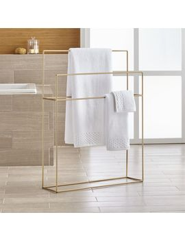 Jackson Brushed Gold Standing Towel Rack by Crate&Barrel
