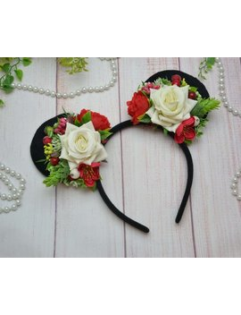 Minnie Mouse Ears Party Headband Floral Disney Ears Mickey Ears Party Flower Crown Birthday Mickey Ears Adult Disney Trip Minnie Ears Floral by Etsy