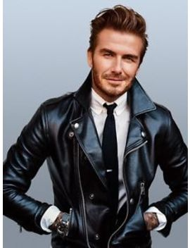 Men's David Beckham Slim Fit Black Real Leather Jacket Bnwt by Dynamic Leather