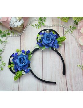 Disney Ears Mickey Mouse Ears Minnie Mouse Ears Mickey Ears Flower Minnie Ears Party Ears Disney Trip Party Headband Blue Minnie Ears Adult by Etsy