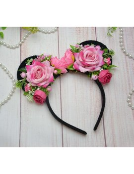 Minnie Ears Mickey Headband Disney Ears Princess Ears Minnie Mouse Ears Mickey Mouse Ears Disney Trip Pink Flower Ears Flower Minnie Ears by Etsy