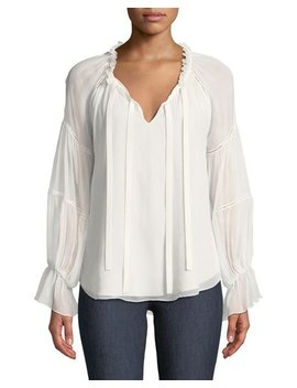Romy Silk Bell Sleeve Blouse by Cinq A Sept