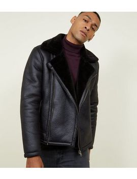 Black Faux Shearling Trim Aviator Jacket by New Look