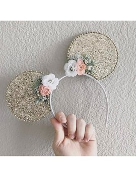 Gold Glitter Minnie Mouse Ears, Sparkle Mickey Mouse Ear Headband For Adults And Kids, Gold Disney Ears Holiday Blush Peach Pink & White by Etsy